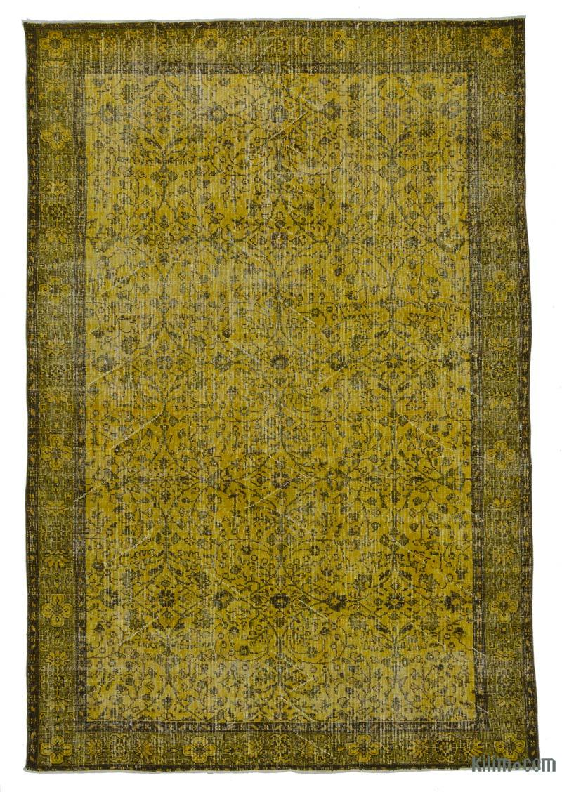 K0010979 Yellow Over Dyed Turkish Vintage Rug 6 3 Quot X 9 5