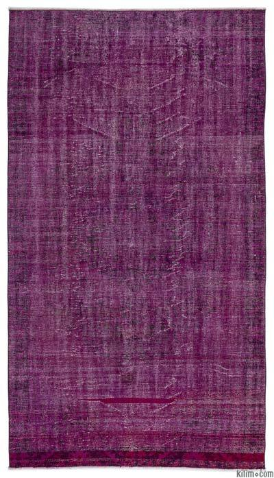 Purple Over-dyed Turkish Vintage Rug - 5'1'' x 9'4'' (61 in. x 112 in.)