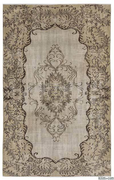 Beige Over-dyed Turkish Vintage Rug - 5'7'' x 8'8'' (67 in. x 104 in.)