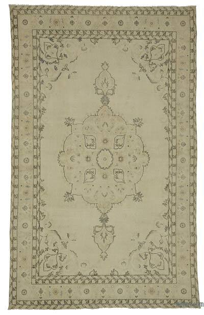 Beige Over-dyed Turkish Vintage Rug - 6'5'' x 10'3'' (77 in. x 123 in.)