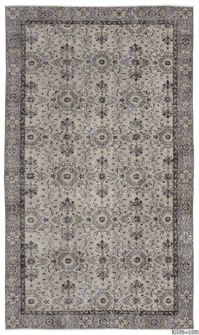 Beige Turkish Vintage Area Rug - 4'10'' x 8'7'' (58 in. x 103 in.)