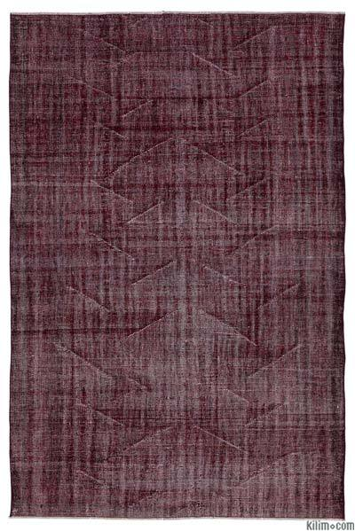 Red Over-dyed Turkish Vintage Rug - 6'1'' x 9'3'' (73 in. x 111 in.)