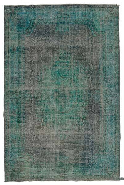 Green Over-dyed Turkish Vintage Rug - 6'5'' x 9'11'' (77 in. x 119 in.)