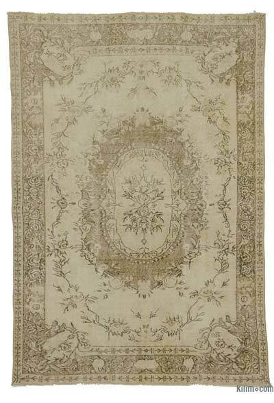 Beige Over-dyed Turkish Vintage Rug - 5'7'' x 7'11'' (67 in. x 95 in.)