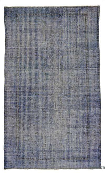 Blue Over-dyed Turkish Vintage Rug - 5'8'' x 9'5'' (68 in. x 113 in.)