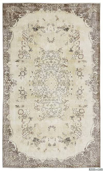 Beige Over-dyed Turkish Vintage Rug - 5'7'' x 9'5'' (67 in. x 113 in.)