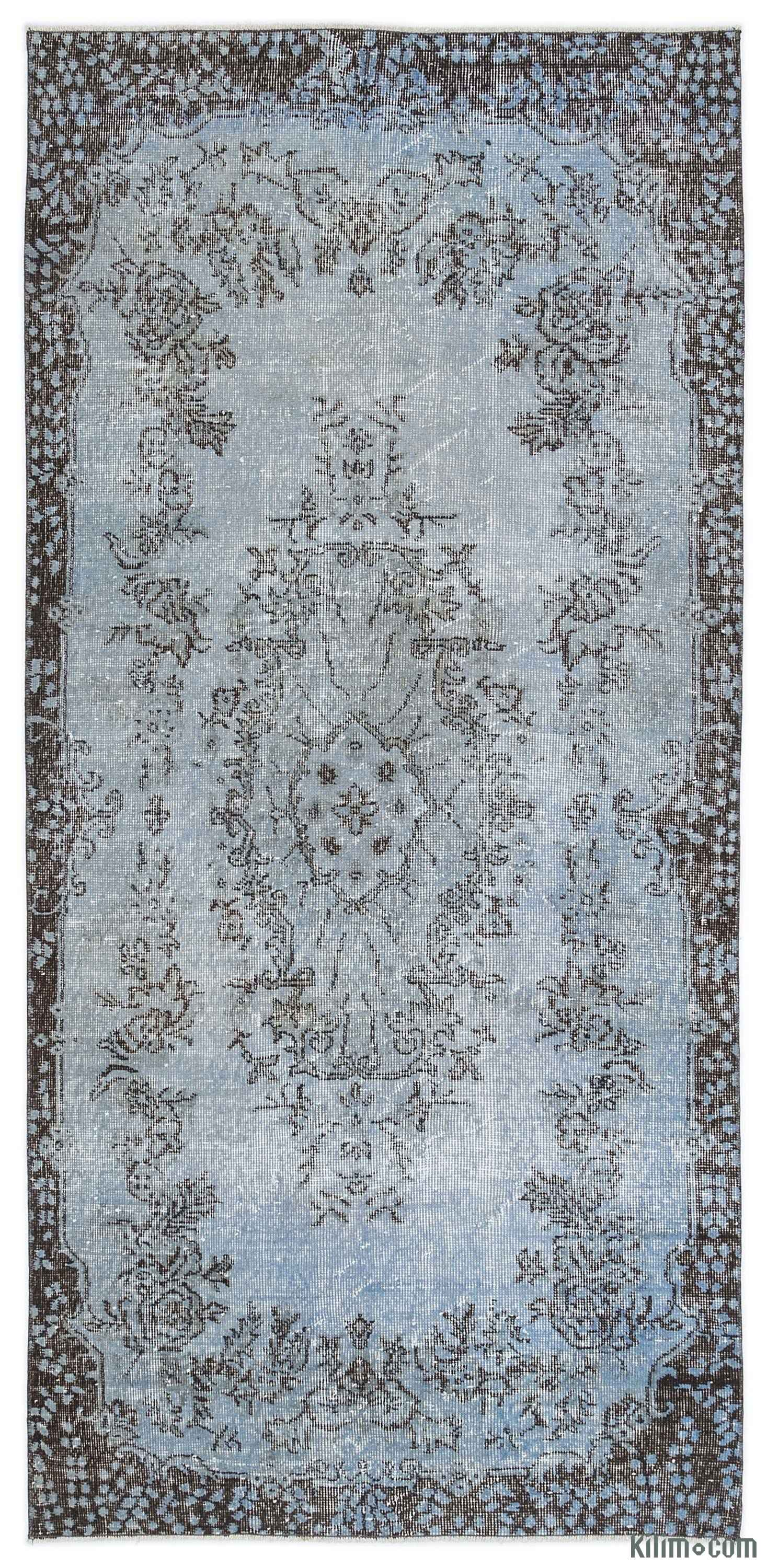 Blue Over Dyed Turkish Vintage Rug 3 6 X 7 42 In 91