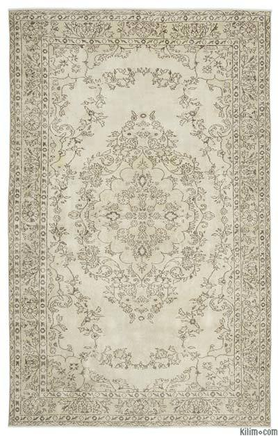 Beige Over-dyed Turkish Vintage Rug - 6'4'' x 9'9'' (76 in. x 117 in.)