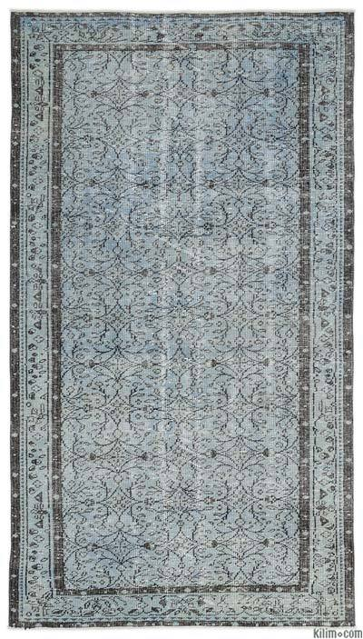 Light Blue Over-dyed Turkish Vintage Rug - 4'11'' x 8'10'' (59 in. x 106 in.)