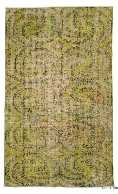 Green Turkish Vintage Area Rug - 4'9'' x 8' (57 in. x 96 in.)
