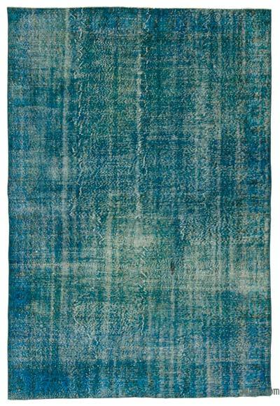 Turquoise Over-dyed Turkish Vintage Rug - 6'6'' x 9'5'' (78 in. x 113 in.)