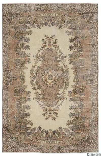 Brown Turkish Vintage Area Rug - 5'11'' x 9'1'' (71 in. x 109 in.)
