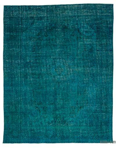 Turquoise Over-dyed Vintage Rug - 9'6'' x 12'4'' (114 in. x 148 in.)
