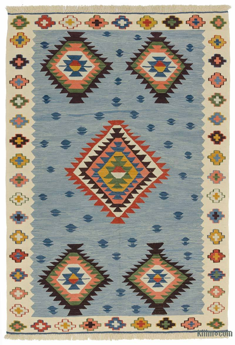 K0012177 Light Blue Beige New Turkish Kilim Rug