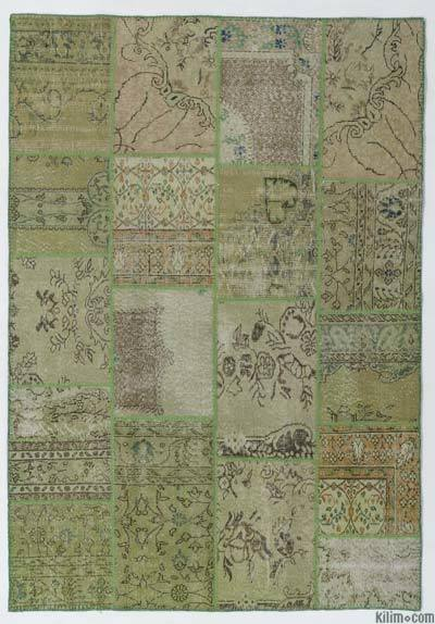 Green Over-dyed Turkish Patchwork Rug - 5'6'' x 7'10'' (66 in. x 94 in.)