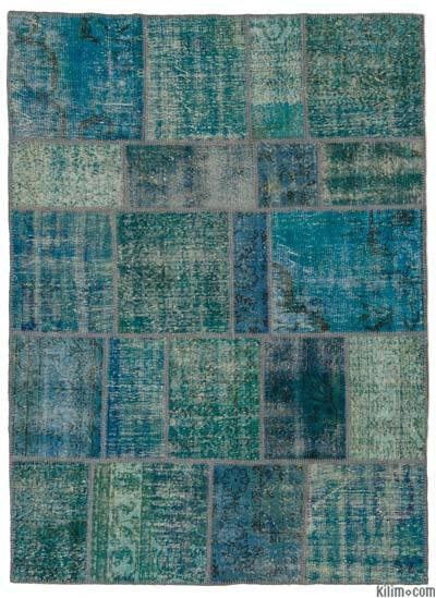 Blue Over-dyed Turkish Patchwork Rug - 5'5'' x 7'5'' (65 in. x 89 in.)