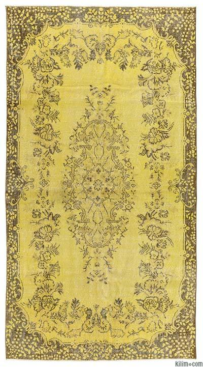 Yellow Over-dyed Turkish Vintage Rug - 5'6'' x 10'4'' (66 in. x 124 in.)