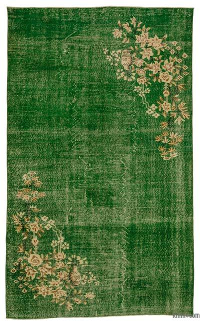 Green Turkish Vintage Area Rug - 5'9'' x 9'3'' (69 in. x 111 in.)