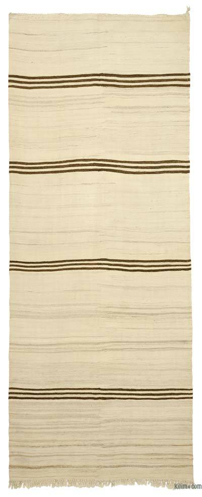Beige Vintage Turkish Kilim Rug - 4'9'' x 12' (57 in. x 144 in.)