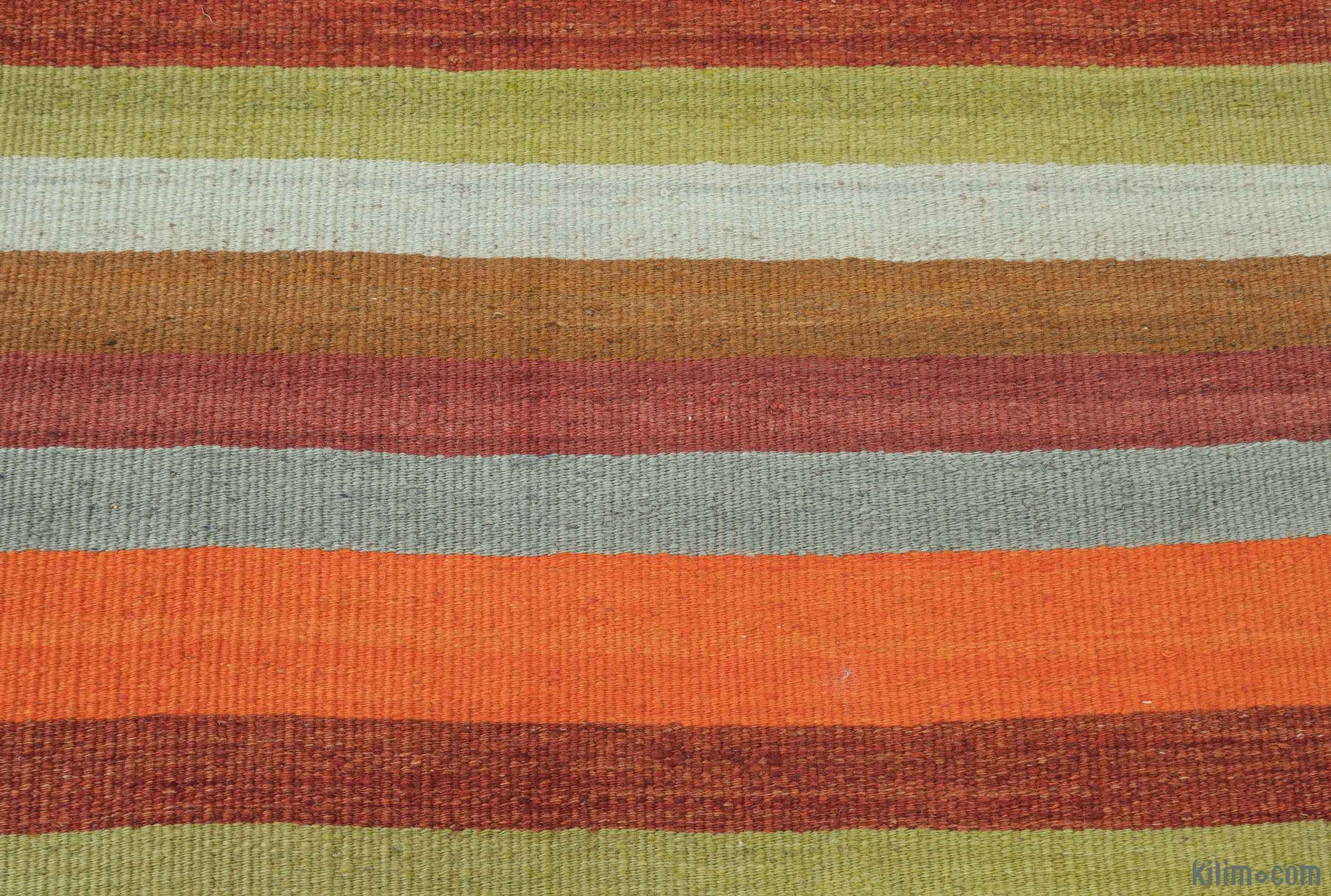 K0012313 Orange Green Vintage Turkish Kilim Runner 2 2