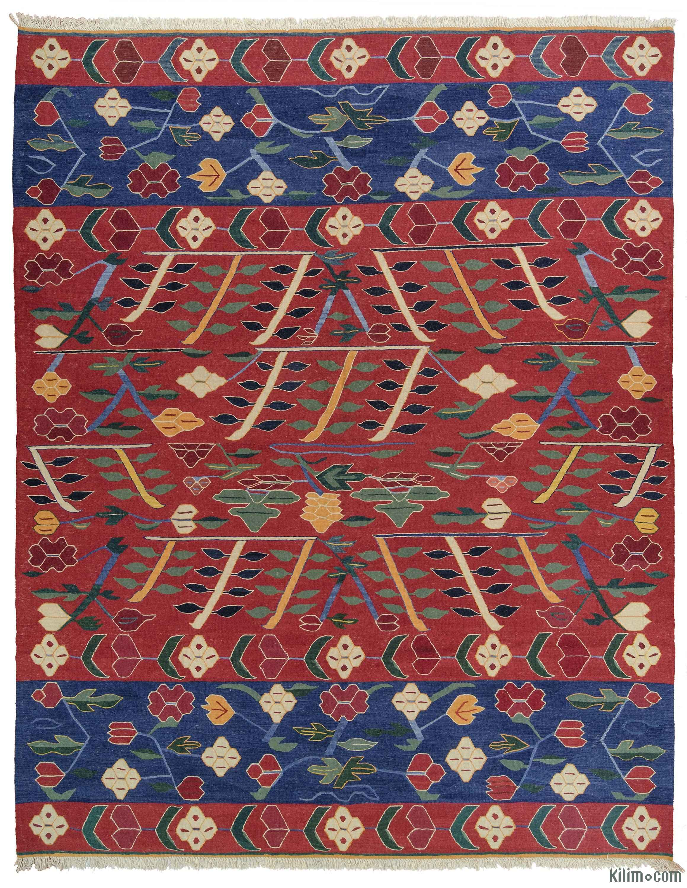 Red Blue New Turkish Kilim Rug