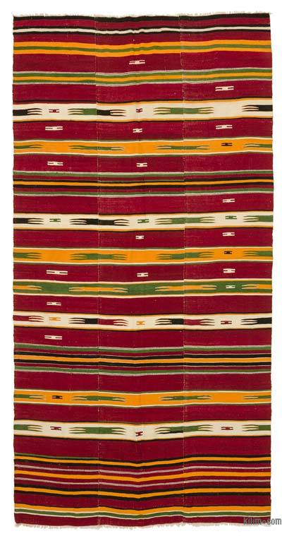 Red Vintage Mut Kilim Rug - 4'11'' x 9'3'' (59 in. x 111 in.)