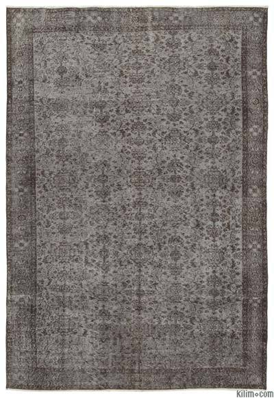 Grey Over-dyed Turkish Vintage Rug - 6'6'' x 9'8'' (78 in. x 116 in.)