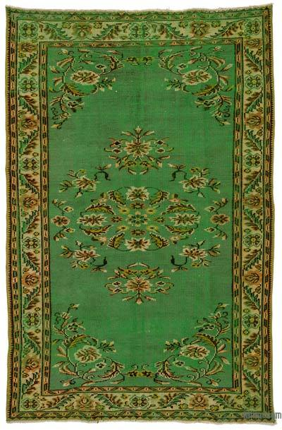 Green Turkish Vintage Area Rug - 5'11'' x 9'1'' (71 in. x 109 in.)