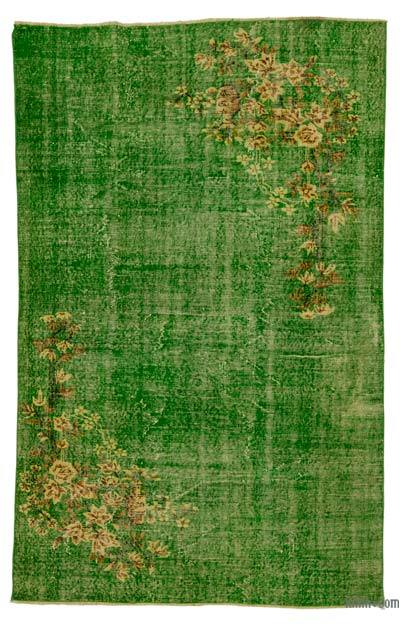 Green Turkish Vintage Area Rug - 5'5'' x 8'6'' (65 in. x 102 in.)