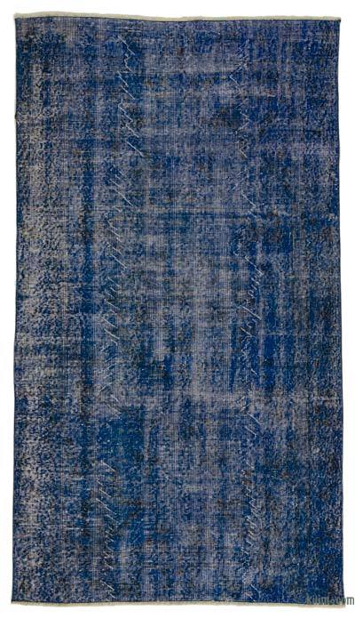 Blue Over-dyed Turkish Vintage Rug - 3'10'' x 6'10'' (46 in. x 82 in.)