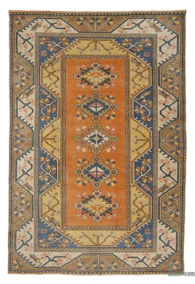Turkish Vintage Area Rug - 6'3'' x 9'3'' (75 in. x 111 in.)