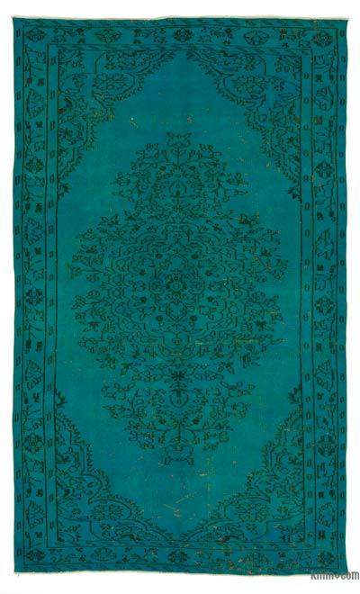 Turquoise Over-dyed Turkish Vintage Rug - 5'5'' x 9'4'' (65 in. x 112 in.)