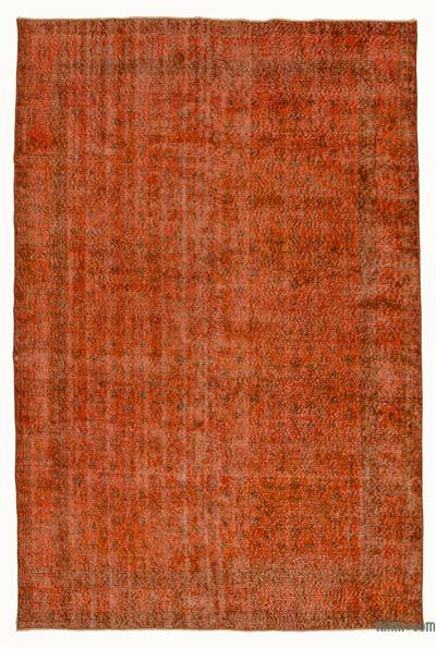 Orange Over-dyed Turkish Vintage Rug - 6'4'' x 9'11'' (76 in. x 119 in.)