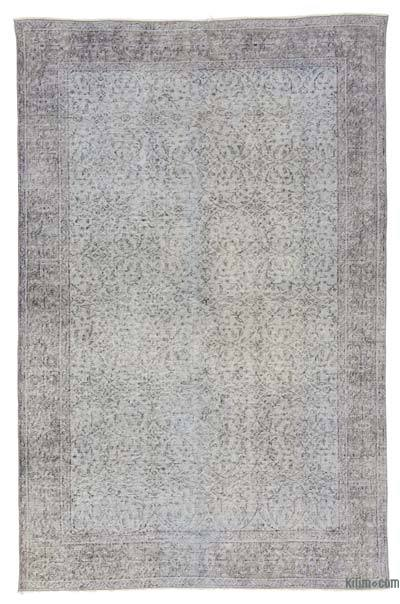 Light Blue Over-dyed Turkish Vintage Rug - 5'4'' x 8'4'' (64 in. x 100 in.)