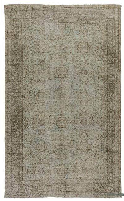 Green Turkish Vintage Area Rug - 5'5'' x 8'10'' (65 in. x 106 in.)