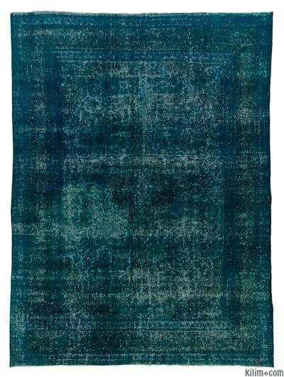 Turquoise Over-dyed Vintage Rug - 9'4'' x 12'4'' (112 in. x 148 in.)