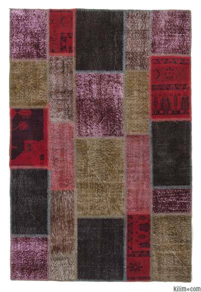 Red, Multicolor Over-dyed Turkish Patchwork Rug - 4'8'' x 6'11'' (56 in. x 83 in.)