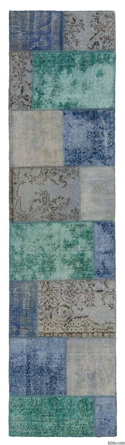 Over-dyed Turkish Patchwork Rug - 2'7'' x 10'6'' (31 in. x 126 in.)