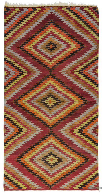 "Vintage Turkish Kilim Rug - 5'8"" x 11'5"" (68 in. x 137 in.)"