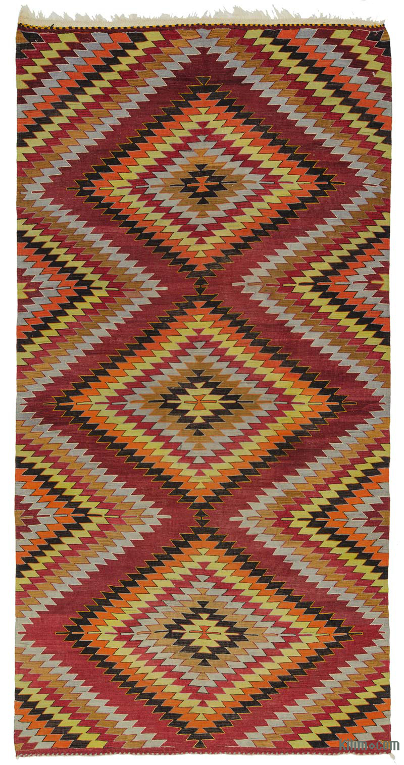 K0013270 Red Vintage Turkish Kilim Rug 5 8 X 11 5