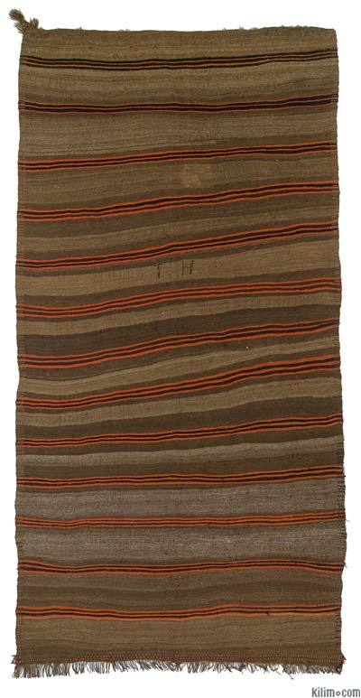Brown Vintage Turkish Kilim Rug - 5'2'' x 10'3'' (62 in. x 123 in.)