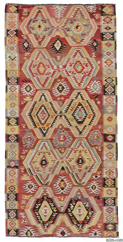 Red Vintage Mut Kilim Rug - 4'11'' x 10'6'' (59 in. x 126 in.)
