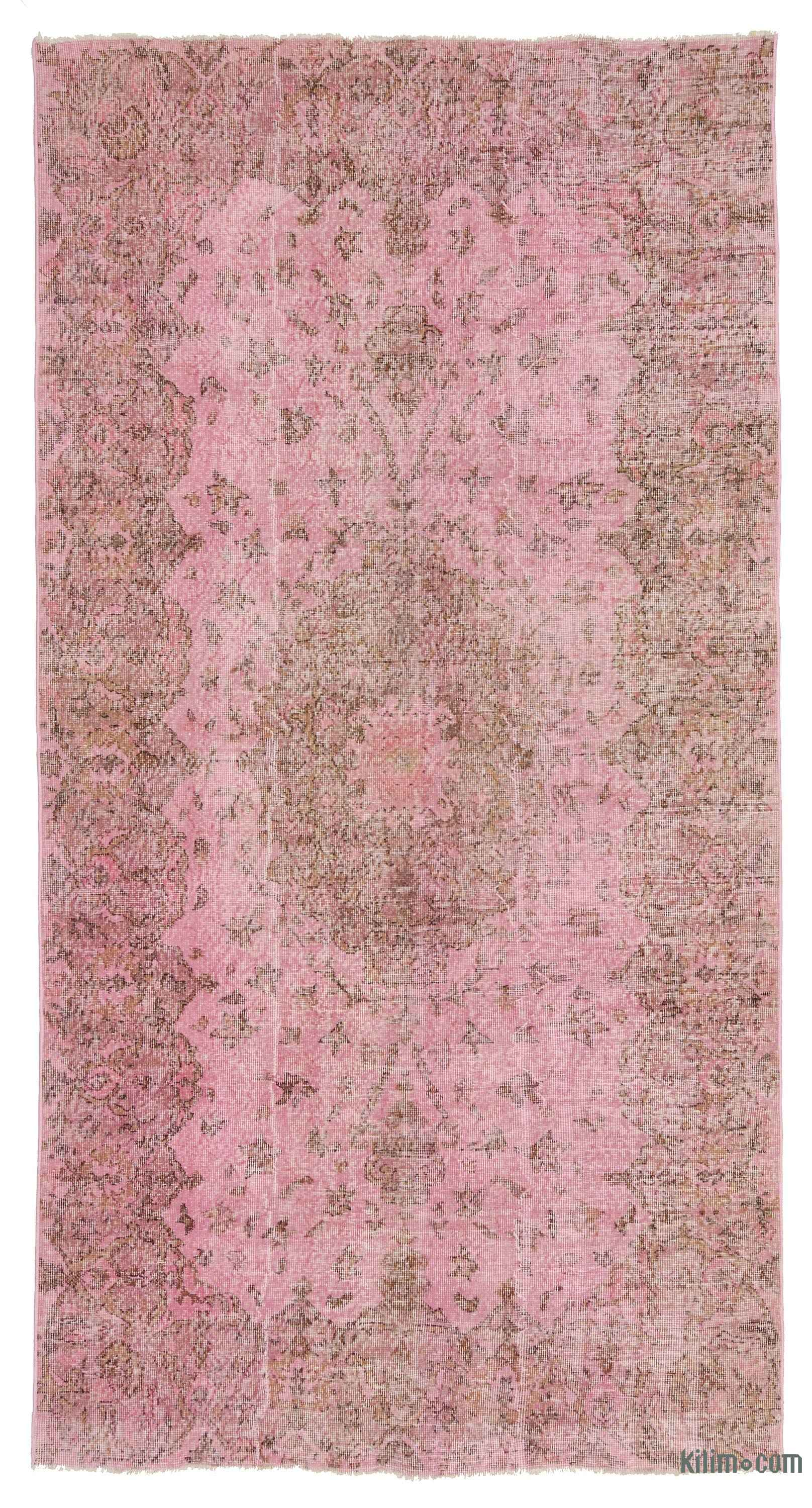 Pink Over Dyed Turkish Vintage Rug 5 3 X 9 11 63 In 119