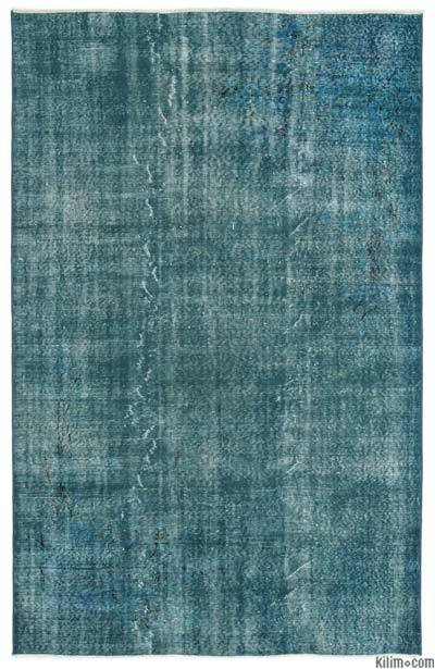 Turquoise Over-dyed Turkish Vintage Rug - 5'8'' x 8'10'' (68 in. x 106 in.)