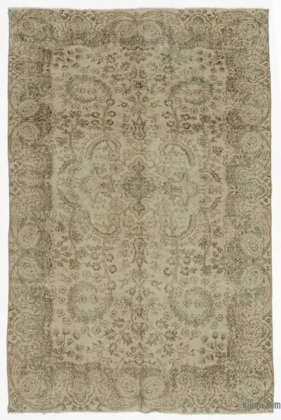 Beige Turkish Vintage Area Rug - 5'7'' x 8'6'' (67 in. x 102 in.)