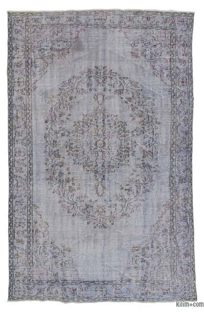 Light Blue Over-dyed Turkish Vintage Rug - 5'6'' x 8'5'' (66 in. x 101 in.)