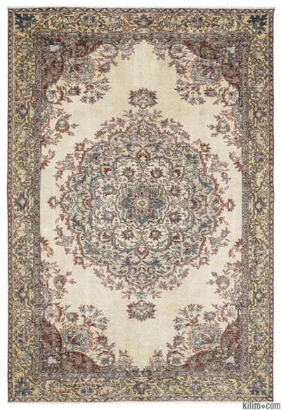 Turkish Vintage Area Rug - 6'4'' x 9'5'' (76 in. x 113 in.)