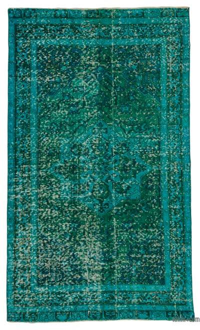 Turquoise Over-dyed Turkish Vintage Rug - 3'8'' x 6'6'' (44 in. x 78 in.)