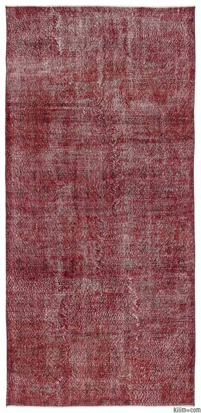 Red Over Dyed Turkish Vintage Rug   K0013693