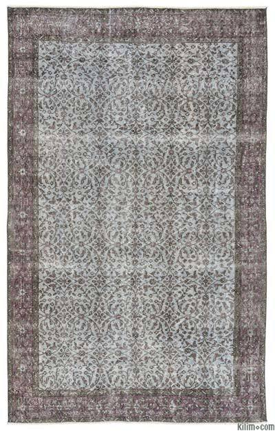 Blue, Light Blue Turkish Vintage Area Rug - 5'5'' x 8'10'' (65 in. x 106 in.)